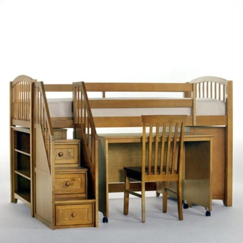 Ne kids school house junior loft bed with stairs in pecan for Junior bunk bed