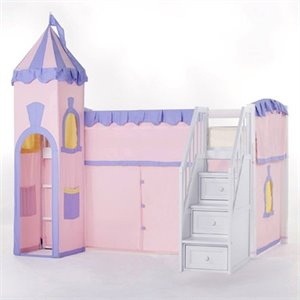 NE Kids School House Princess Loft Bed with Stairs in White
