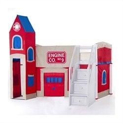 NE Kids School House Firehouse Loft Bed with Stairs in White