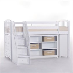 NE Kids School House Storage Junior Loft Bed with Stairs in White