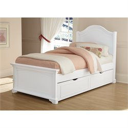 NE Kids Walnut Street Morgan Twin Arch Bed with Trundle in White
