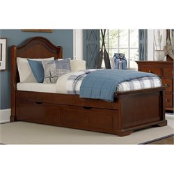 NE Kids Walnut Street Morgan Twin Arch Bed with Trundle in Chestnut
