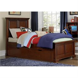 NE Kids Walnut Street Devon Twin Panel Bed with Trundle in Chestnut