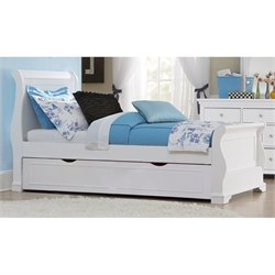 NE Kids Walnut Street Riley Twin Sleigh Bed with Trundle in White