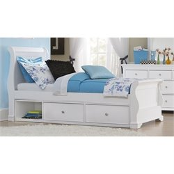 NE Kids Walnut Street Riley Twin Storage Sleigh Bed in White