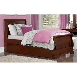 NE Kids Walnut Street Riley Twin Sleigh Bed with Trundle in Chestnut