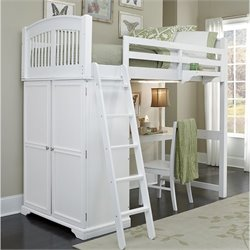 NE Kids Walnut Street Locker Loft Bed with Desk and Shelf in White