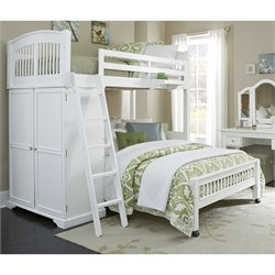 NE Kids Walnut Street Locker Loft Bed with Full Lower Bed