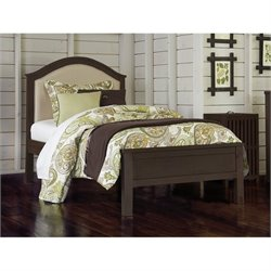 NE Kids Highlands Bailey Twin Upholstered Bed in Espresso