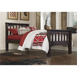 NE Kids Highlands Harper Twin Slat Bed in Espresso