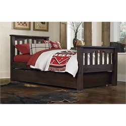 NE Kids Highlands Harper Twin Slat Bed with Trundle in Espresso