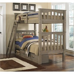 NE Kids Highlands Harper Twin over Twin Storage Bunk Bed in Driftwood