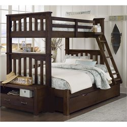 NE Kids Highlands Harper Twin over Full Bunk with Trundle in Espresso