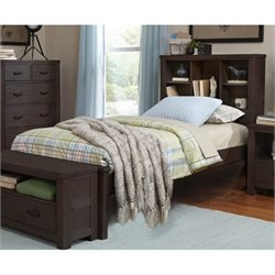 NE Kids Highlands Twin Bookcase Bed in Espresso