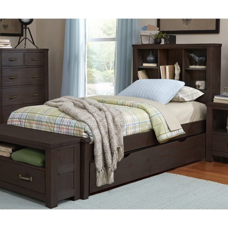 NE Kids Highlands Twin Bookcase Bed With Trundle In