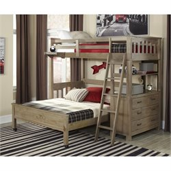 NE Kids Highlands Loft Bed with Full Lower Bed