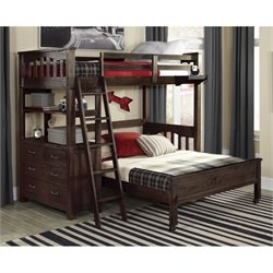 NE Kids Highlands Loft Bed with Full Lower Bed  and Shelf 1
