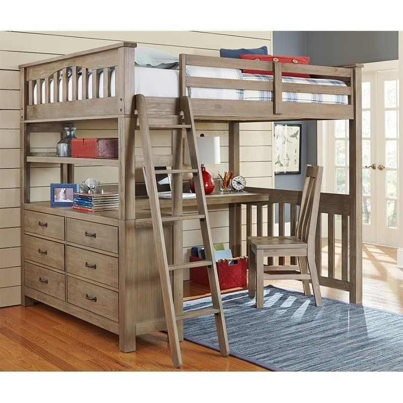 Ne Kids Highlands Full Loft Bed With Desk And Shelf In Driftwood 10080nd 535 Kit