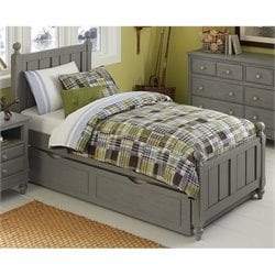 NE Kids Lake House Kennedy Twin Panel Bed with Trundle in Stone