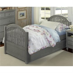 NE Kids Lake House Adrian Twin Slat Bed with Trundle in Stone