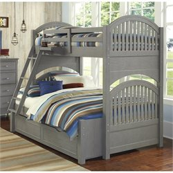 NE Kids Lake House Adrian Twin over Full Bunk with Trundle in Stone