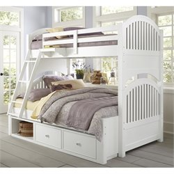 NE Kids Lake House Adrian Twin over Full Storage Bunk in White
