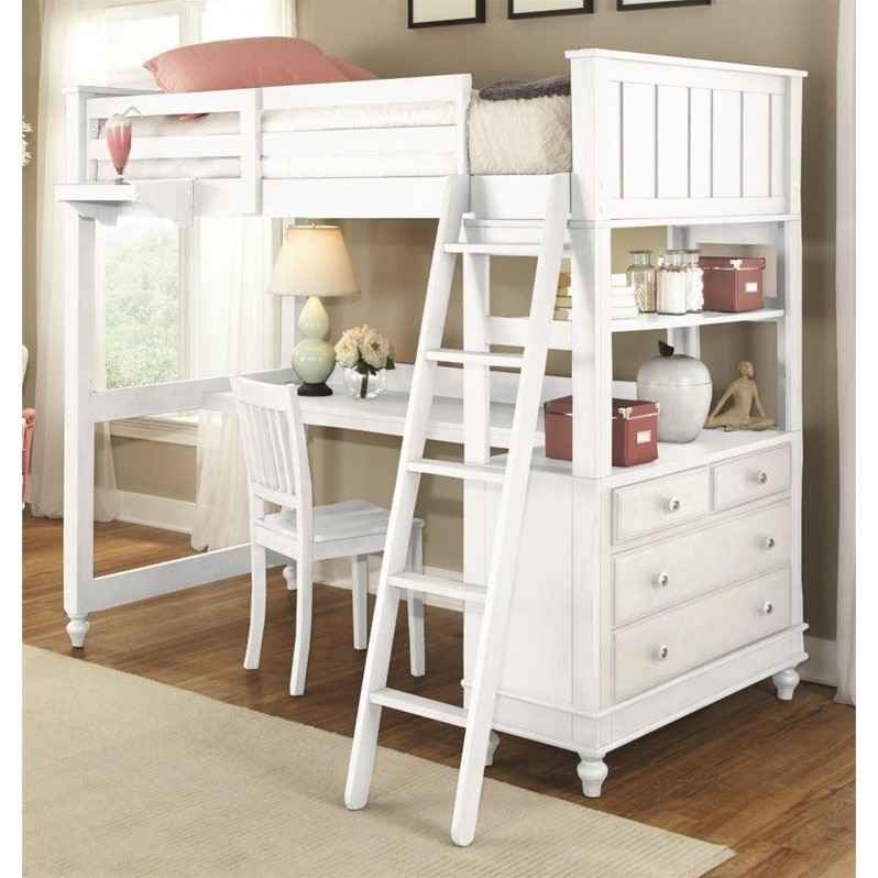 NE Kids Lake House Twin Loft Bed with Desk in White - 1040ND