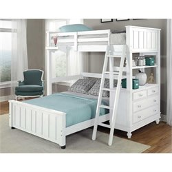 NE Kids Lake House Loft Bed with Full Lower Bed and Shelf