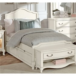 NE Kids Kensington Charlotte Twin Panel Bed with Trundle in White