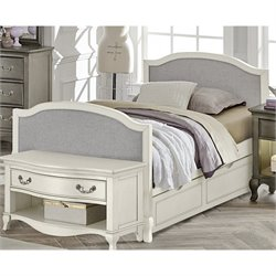 NE Kids Kensington Victoria Twin Upholstered Bed with Trundle in White