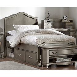 NE Kids Kensington Charlotte Twin Panel Storage Bed in Antique Silver