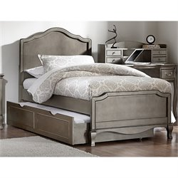 NE Kids Kensington Charlotte Twin Panel Bed with Trundle in Silver