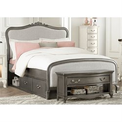 NE Kids Kensington Katherine Full Upholstered Storage Bed in Silver