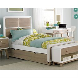 NE Kids East End Twin Panel Bed with Trundle in White and Taupe