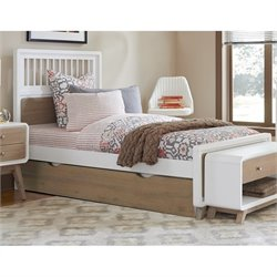 NE Kids East End Twin Spindle Bed with Trundle in White and Taupe