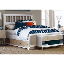 NE Kids East End Full Spindle Storage Bed in White and Taupe