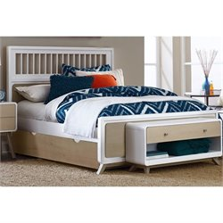 NE Kids East End Full Spindle Bed with Trundle in White and Taupe