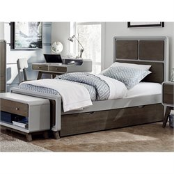 NE Kids East End Twin Panel Bed with Trundle in Gray