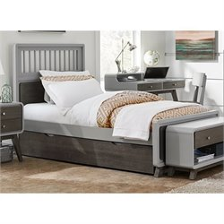 NE Kids East End Twin Spindle Bed with Trundle in Gray