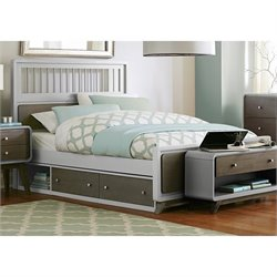 NE Kids East End Full Spindle Storage Bed in Gray