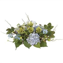 Nearly Natural Hydrangea Candleabrum Centerpiece in Blue