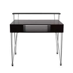 Proman Products Writing Desk with Metal Legs in Ebony