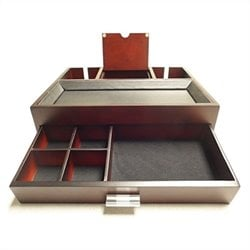 Proman Products Monarch Dresser Valet in Dark Mahogany