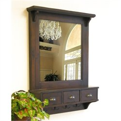 Proman Products Bombay Wall Mirror in Dark Walnut