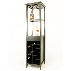 Proman Products Galina Wine Rack Tower with glass holder in Black
