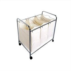 Proman Laundry Basket Trolley with 3 Compartments