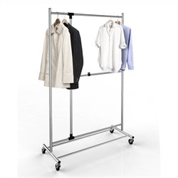 Adjustable Garment Rack in Chrome with Casters