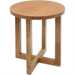 Regency Chloe Round Veneer End Table in Medium Oak