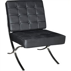 Regency Princeton Leather Lounge Chair in Chrome and Black