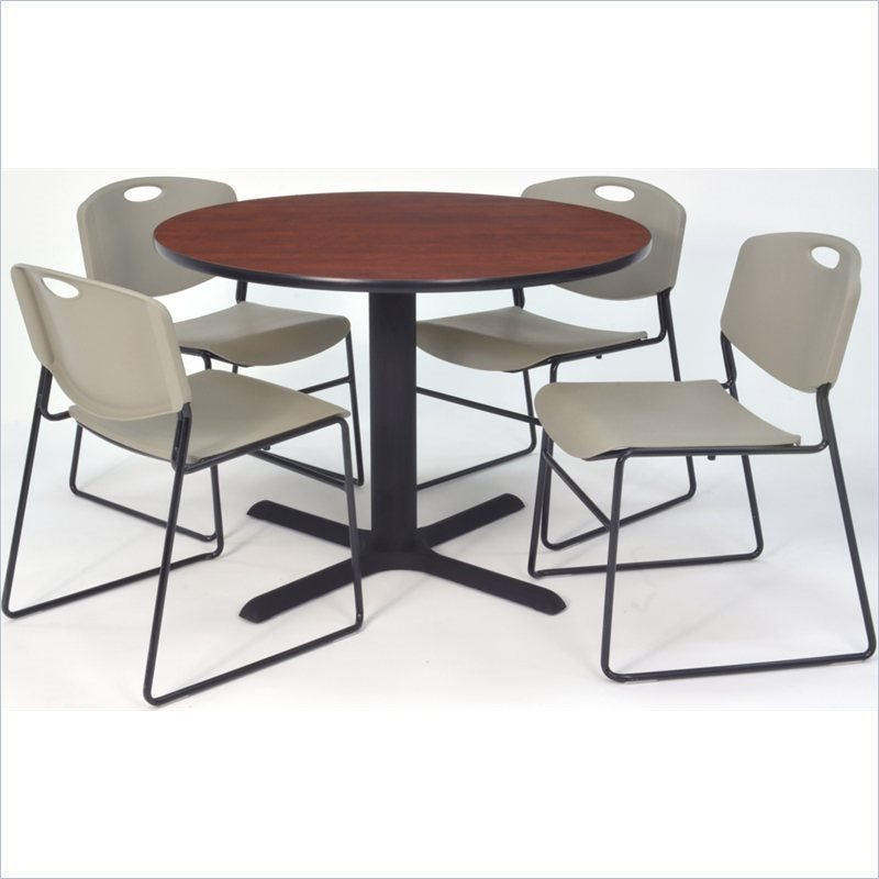 Regency Cain 42 Cherry Breakroom Table With Zeng Chairs In Gray Tb4242ch44gy